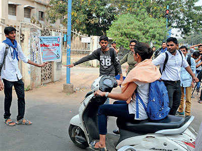 No helmet, no entry for students, faculty members and visitors in LD College campus