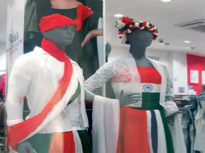 Trouble unlimited as store wraps tricolour below waist on Republic Day
