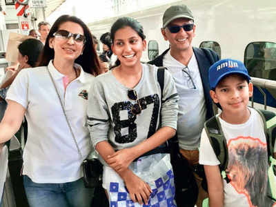 Juhi Chawla returns to Mumbai from the UK with husband and kids