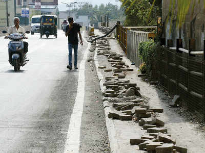Chinchwad footpath dug up since months