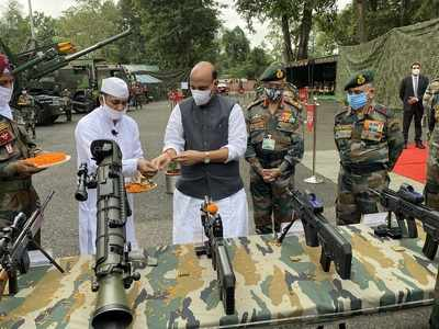 Rajnath Singh performs 'Shastra Puja', says Army won't let anyone take an inch of country's land