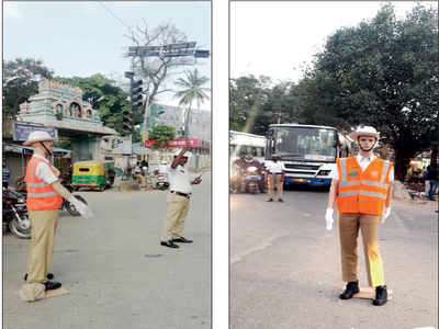 To deter traffic violations, city traffic police deploys traffic police mannequins on trial basis