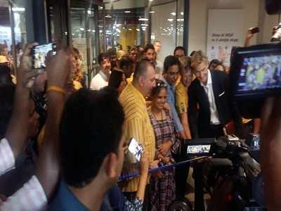 Customer cuts the ribbon to inaugurate IKEA's Hyderabad store