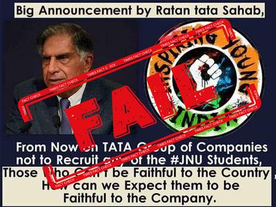 Fake alert: No, Ratan Tata did not say Tata Group will not recruit from JNU