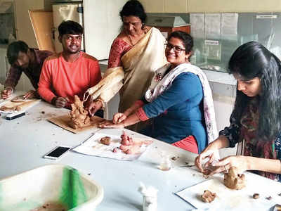Learn to make clay Ganeshas at Bangalore University
