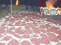 1,008 kgs red chillies used for Pratyangira Devi havan on Amavasya