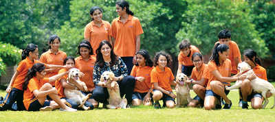 Bengaluru: City school tries to wean off students from gadgets by introducing puppies to welcome party