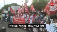 Visakhapatnam: CPM, CPI activists protest against rising fuel prices