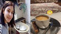'Potter' Anushka Sharma sips coffee in a self-made cup
