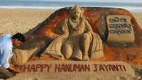 Hanuman Jayanti: Artist Mr. Manas Kumar Sahoo creates sand statue of Lord Hanuman