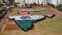 Pune: 1,700 students form human map of India, attempt world record
