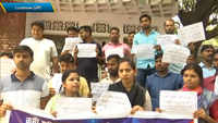 Candidates who cleared UP Police recruitment exam in 2013 stage protest in Lucknow