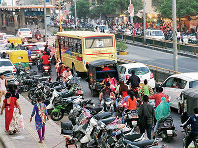 Stuck in a jam, Bopal residents demand: First make space for us to drive, then issue e-challans