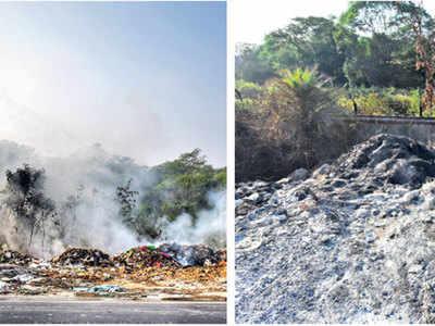 Hinjawadi road chokes from burning garbage