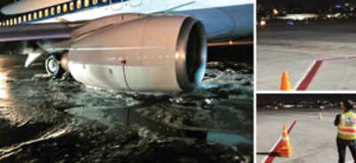 Close shave for 127 fliers as Jet's landing gear fails on touchdown