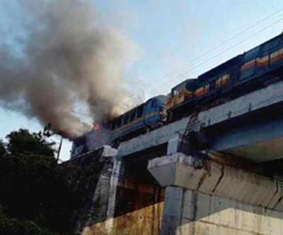 Goods train locomotive catches fire near Surat, rail traffic disrupted