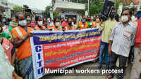 Visakhapatnam: Municipal workers protest, demand release of salary