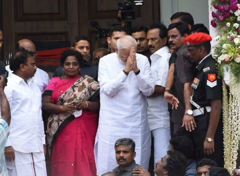 PM Narendra Modi pays tributes to Karunanidhi