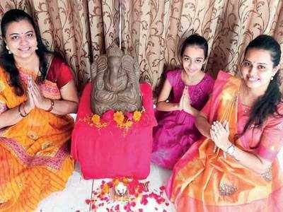 This Ganesha fest, on offer is an idol made of cow dung
