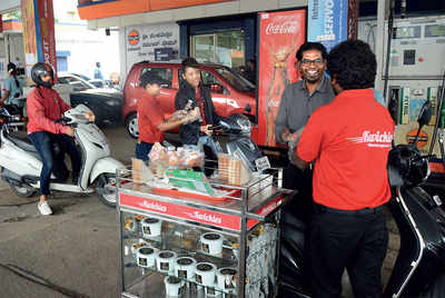 This petrol pump offers free food while you refuel