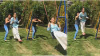 Varun Dhawan offers a swing ride to Sara Ali Khan and she is super happy!