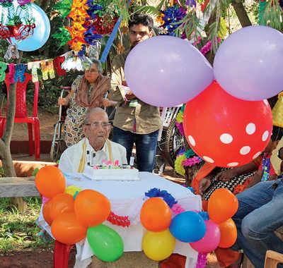 Centenarian celebrates birthday at old age home