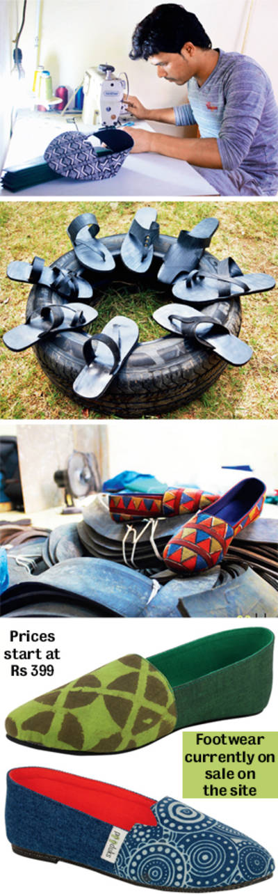 Step into trendy shoes made from truck tyres