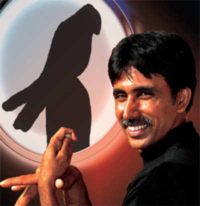 Shadows at his fingertips