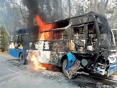 Bus, bike catch fire after crash, 3 riders killed