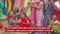One student dead, five injured after school bus plunges into roadside pond in AP