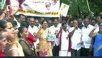 DMK workers stage protest against desecration of statue of Tamil poet Thiruvalluvar