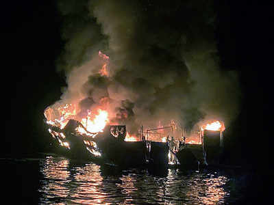 25 dead, 9 missing as boat catches fire