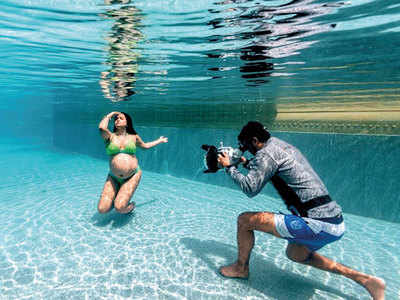 Sameera Reddy flaunts her baby bump in an underwater maternity photoshoot