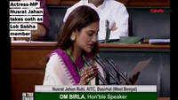 Nusrat Jahan takes oath as Lok Sabha member