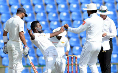 India vs Sri Lanka 2017 Series, 3rd Test match, Day 1: Middle order falters after Shikhar Dhawan's ton; India reach 329/6