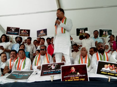 Congress launches protest, claims BS Yediyurappa's government has failed to ensure proper relief for flood victims