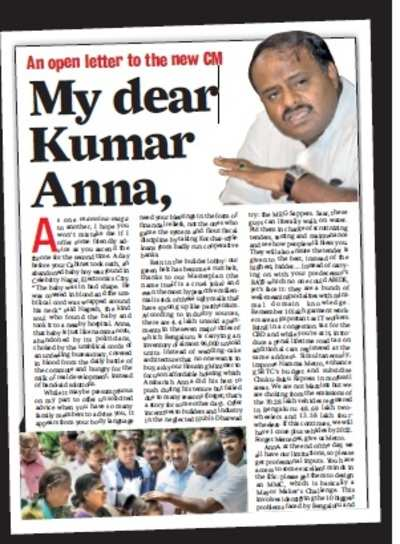 Chief Minister HD Kumaraswamy responds to 'open letter'in Bangalore Mirror, says he's already working on it