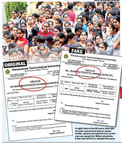 In  Visvesvaraya Technological University , fake circulars are doing the rounds