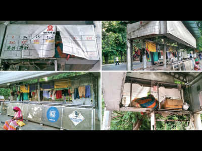 Bus stop taken over by street dwellers