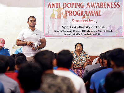 Wrestler Narsingh Yadav tells youngsters how to be careful when it comes to doping