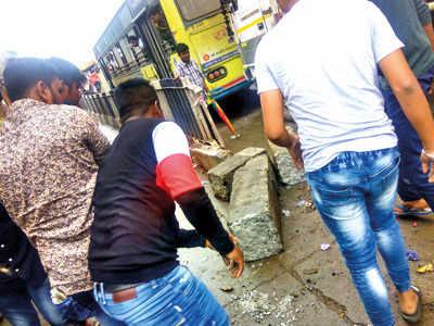 BRTS divider broken to let ambulance through
