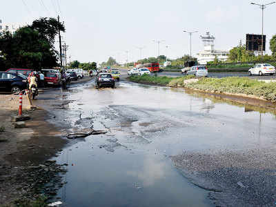 Clogged culverts along the service lanes have led to persistent sogginess on NH-48