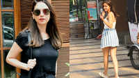 Royal Aditi Rao Hydari clicked in casual black, Ananya Panday snapped in white camisole top and blue striped skirt