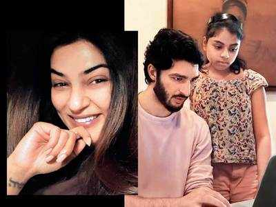 Sushmita Sen shoots Rohman Shawl as he helps Alisah and Alexa with studies