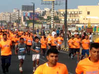 Visakhapatnam: Over 15,000 people participate in the 5th edition of Vizag Navy Marathon