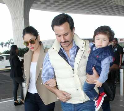 Taimur Ali Khan twinning at the airport with parents Saif Ali Khan, Kareena Kapoor Khan