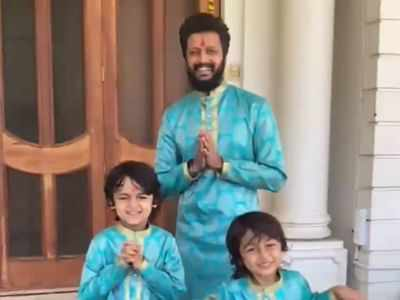 Riteish Deshmukh, sons wear outfits made out of mother's saree on Diwali; actor shares video