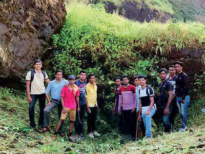 Students unearth a buried gate at Torna