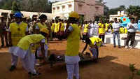 Civil defence volunteers demonstrate basic life support and disaster survival skills