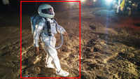 'Astronaut' walks through road filled with potholes, video goes viral